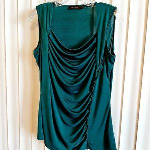 Green draped front stretchy tank top Large Limited